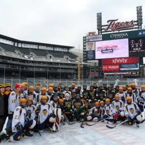 Girls varsity hockey team at Comerica