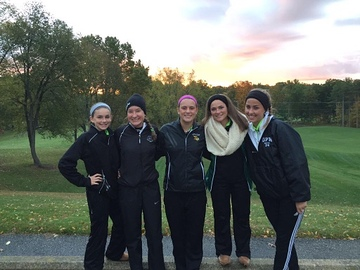 Freshman Meghan Gallagher, sophomore Sammy Karwowicz and seniors Olivia Benoit, Elizabeth Gallagher and Caelin Micks endure freezing weather to place 11th in states.