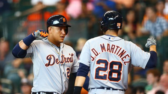 Miguel+Cabrera%2C+left%2C+and+J.D.+Martinez%2C+right%2C+seen+celebrating.+