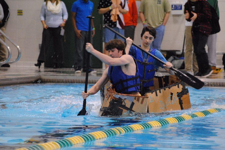 Seniors+Trevor+Joseph+and+Anthony+Bellomo+paddle+their+way+across+the+pool.