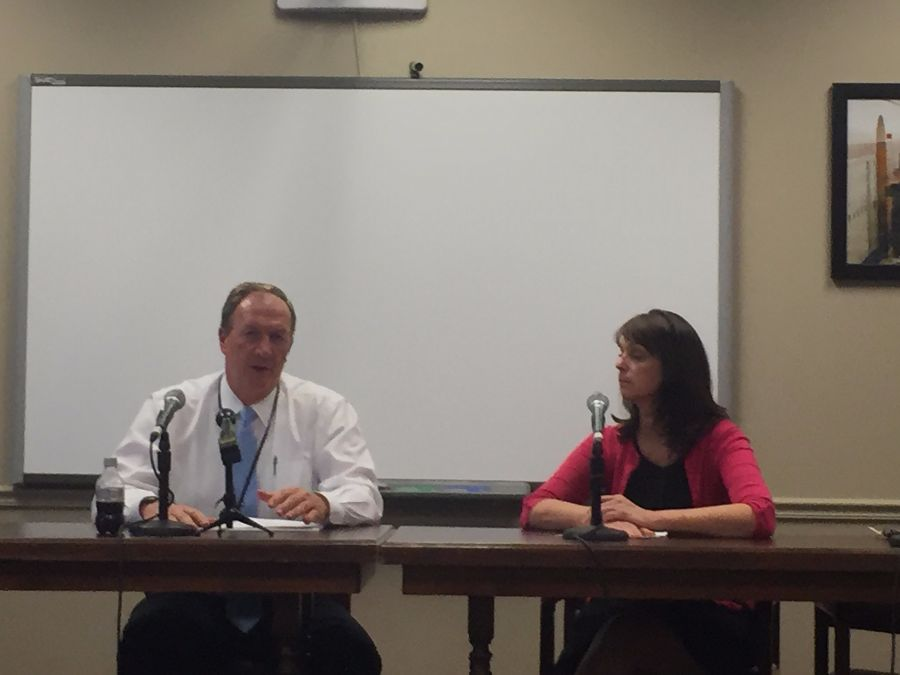Superintendent Gary Niehaus speaks about the optional water testing results at a press conference on April 18.