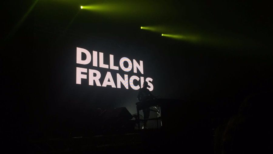 Headliner+Dillon+Francis%27s+stage+set+up+before+his+performance.