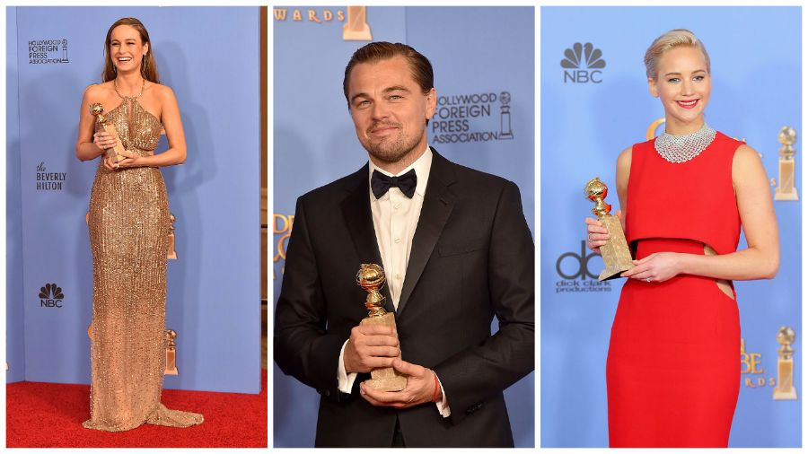 From left to right: Brie Larson, who won Best Performance by an Actress for Room, Leonardo DiCaprio, who won Best Performance by an Actor for the Revenant, and Jennifer Lawrence, who won Best Performance by an Actress for Joy.