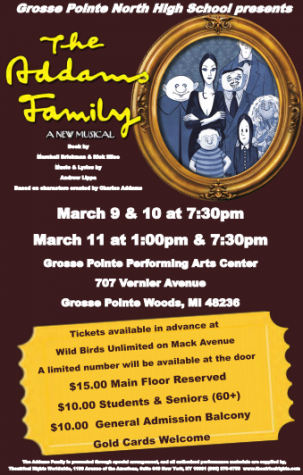 """The Addams Family"" musical poster. Performances have had to be cancelled because of a continued power outage."