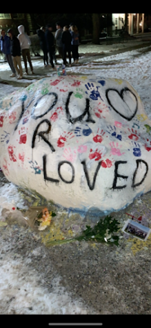 "After original messages designed to memorialize the death of a North student were dismantled by administration, students from both North and South came together to send a message to the community that ""You R Loved."""
