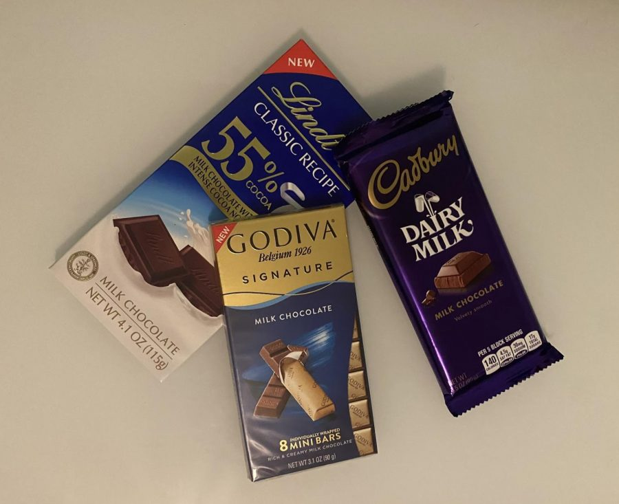 Above, the three reviewed chocolate bars.