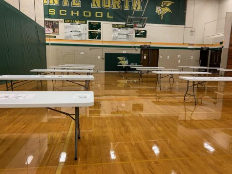 """Athletic trainer Kierra Washington says that she and fellow athletic trainer Tara Winton arrive at school early Monday morning in order to set up the tables for athletes to test at. """"...Right at seven o"""