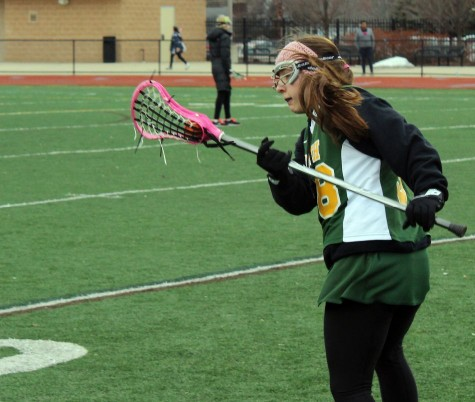 Girls Varsity Lacrosse Pre-game Practice at Farmington