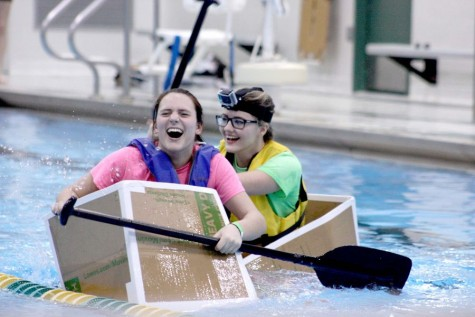 Seniors Olivia Benoit and Jill Hendra begin to sink.