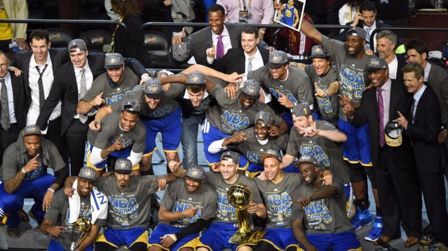 The Golden State Warriors celebrating their NBA championship last season.