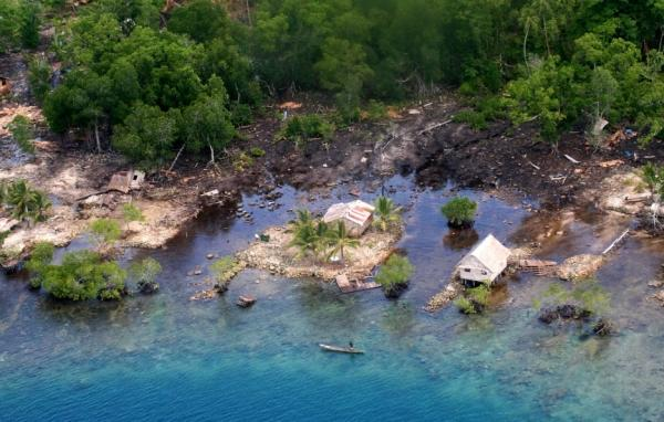 Five islands of the tiny topical nation of Solomon Islands have now vanished due to rising sea levels.