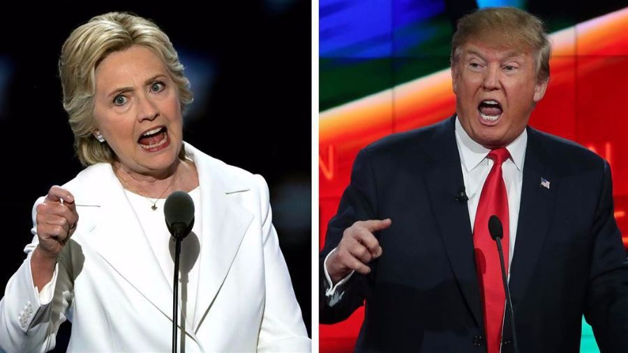 Before the election, Hillary Clinton (left) still maintains her lead over Donald Trump (right).