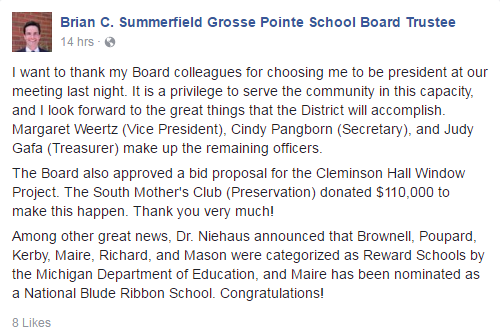 New Board of Education president Brian Summerfield shares the news on Facbook. Summerfield, who replaced now-treasurer Judy Gafa, said he is excited for the year ahead.