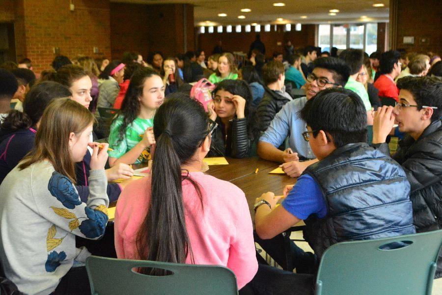 Freshmen talk with their Link Crew leaders on Monday, Feb. 13.