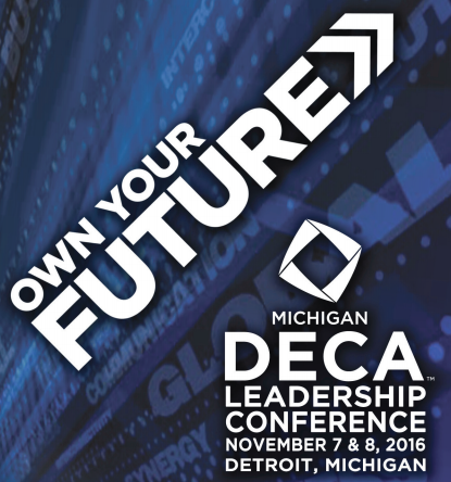 The logo for the state DECA conference in Detroit. Students who qualified will attend the conference in hopes of advancing to the international competition in California.