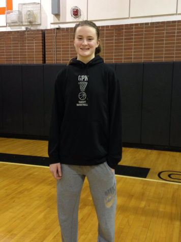 Sophomore Julia Ayrault smiles after the game where she broke the record for most points scored in an individual game.